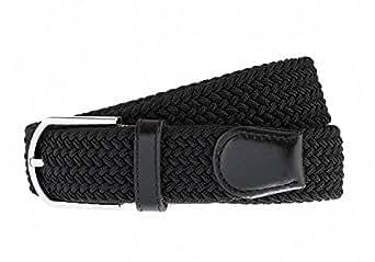 Cintura intrecciata elastica, Per uomini e donne, Colori multipli e dimensioni, Nero & Nero, X-Large