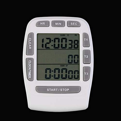 VCB Triple Timer Clock Küche Kochen 3-Line Alarm LCD Digital Count Down - Weiß