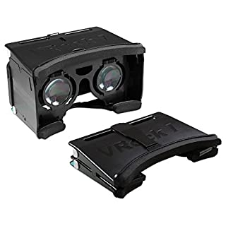 Archgon black FOLDABLE Google Cardboard 3D Virtual Reality Glasses DIY Kit for 4.2~5.2 inches Smartphone w/Adjustable Lens & Strap - Black