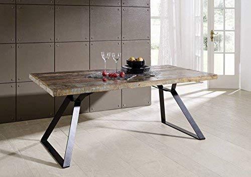 MASSIVMOEBEL24.DE Altholz lackiert Industrial Stil Tisch 180x90 Massivmöbel Eisen massiv Holz Industrial #13