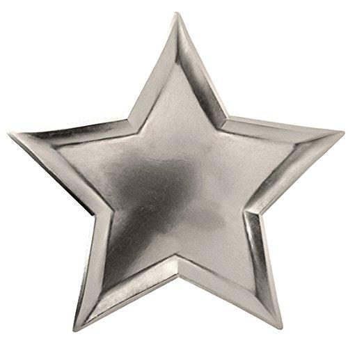 GWELL 8 Stück Sterne Pappteller Kindergeburtstag Party Papier Einweg Teller Tasse einmaliges Party Geschirr silber