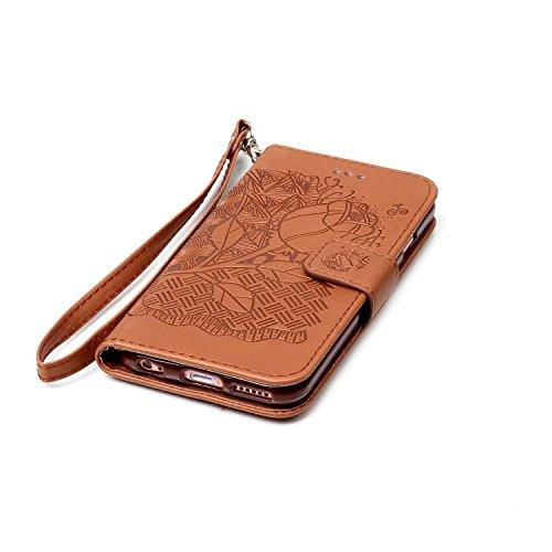 MOONCASE IPhone 6 / 6S (4.7 inch) Étui, Rose Relief Motif Protection en PU Cuir Folio Housse Béquille Etui à rabat Case Cover avec Porte-cartes Fentes Portefeuille Béquille Fermeture Magnétique pour i Brun