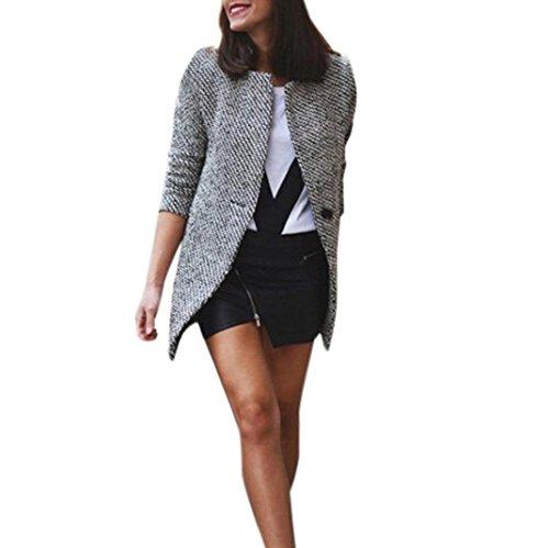 TWIFER 2018 Neu Damen Slim Warm Wolle Blazer Revers Lange Mantel Trench Parka Jacke (S, Grau) -