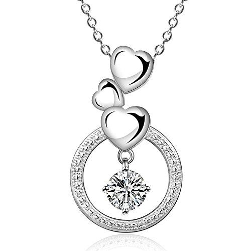 amdxd Jewelry Silber vergoldet Anhänger Halsketten für Frauen Silber Kreis Herz Kristall Halskette