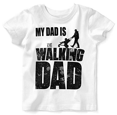 Mikalino Baby/Kinder T-Shirt mit Spruch für Jungen Mädchen Unisex Kurzarm My Dad is The Walking Dad | handbedruckt in Deutschland | Handmade with Love, Farbe:Weiss, Grösse:68/74