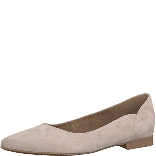 Tamaris 1-1-22156-22 Damen KlassischeBallerinas,Flats,Sommerschuh,klassisch elegant,Rose Suede,37 EU - Metallic-leder Ballerina