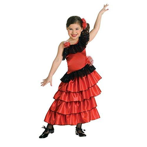 Spanierin Kostüm Kinder Rotes Flamencokleid S 3-4 Jahre 98-116 cm Flamenco Kinderkostüm Flamenco Kleid Mädchen Kostüme Fasching Rumba Tänzerin Faschingskostüm Spanische Prinzessin (Flamenco-tänzerin Zubehör)