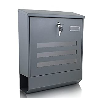 BITUXX® Briefkasten grau anthrazit Post Briefkasten Wandbriefkasten und Zeitungsfach