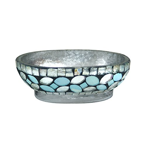 nu steel SF3H Sea Foam Collection Schale, Seifenhalter für Küche oder Bad Dusche & Arbeitsplatte, Glasmosaik mit Aqua Finish -