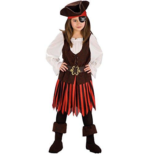 Carnival Toys 65679 - Piratin, Kinderkostüm mit Hut und Bandana, 4-5 Jahre (Bandana Mit Hut)