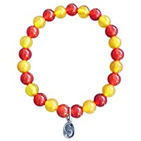 Kids' Carnelian & Agate, Semi-Precious Crystal Bracelet, APOCCAS, DEVA, Red-Yellow, 6 mm diameter, Sterling Silver Tag, Children's Unisex, Age 4-7 Years (XXS)