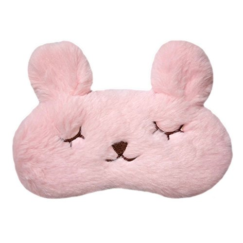meyfdsyf ajustable 3d Cute Rabbit Face Eye bolsas Antifaz seda (rosa)
