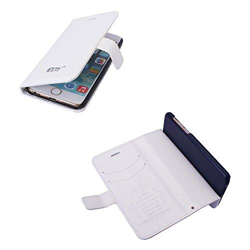 Pdncase iPhone 6 Leder Tasche Case Hülle Wallet Carrying Cover Schutzhülle für iPhone 6 Farbe Weiß Weiß