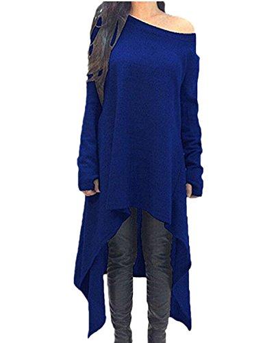 Zanzea Femme Robe Pull en Maille Manches Longues Tunique Grande Taille Hiver Robe Sweat Asymetrique Top Haut Oversize 01-Bleu 2XL