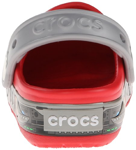 Crocs Lights Robo Shark Ps, Sabots garçon Rouge (Red/Silver)