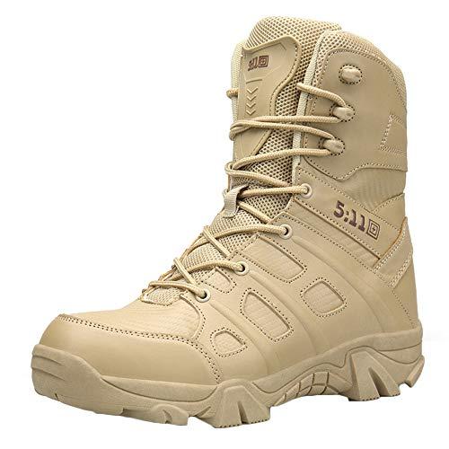 LIUYL Men Military Tactical Boot Sommer im Freien atmungsaktive Desert Combat Boot High-Top-Trainer Wanderschuhe wasserdichte Stiefel,Sand-44 Tactical Military Boots