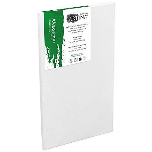Artina Keilrahmen 60x120 cm Leinwand 100% Baumwolle auf stabilen Leisten in Akademie Qualität - weiß grundiert - 280 g/m² - Nachmittags Leinwand