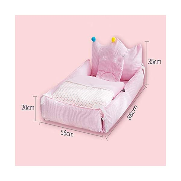 Baby Lounger - TINGYIN100% Cotton Newborn Portable Bassinet Crib,Breathable and Hypoallergenic Sleep Nest Newborn Lounger Pillow for Bedroom/Travel Camping - E TINGYIN ★Adjustable Design: Suitable for 0-15Month. Comes with bag, Great baby shower gift. GROWS WITH YOUR BABY. Being adjustable, the side sleeper grows with your baby. Simply loosen the cord at the end of the bumpers to make the size larger. The ends of the bumpers can be fully opened. ★HEALTH & COMFY: hypoallergenic materials, breathable and non-toxic. We use 100-percent cotton fabric and breathable, hypoallergenic internal filler, which is safe for baby's sensitive skin. It will give your child serene, safe, and sound sleep in their lovely co sleeping crib. ★MULTIFUNCTIONAL AND PORTABLE. Use the infant nest as a bassinet for a bed, baby lounger pillow, travel bed, newborn pillow, changing station or move it around the house for lounging or tummy time, making baby feel more secure and cozy. The lightweight design and easy-to-use package with handle make our newborn nest a portable baby must-have. 2