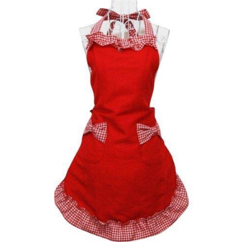 Miya® süße Prinzessin rot Küche Schürze Grillschürze mit rot & weiß Karo Muster kariert Schleife und Taschen aus Baumwolle, süßes Gechenk für Mutter, Frau, Freundin, Tochter, Schwester usw. (Mutter Schürze)