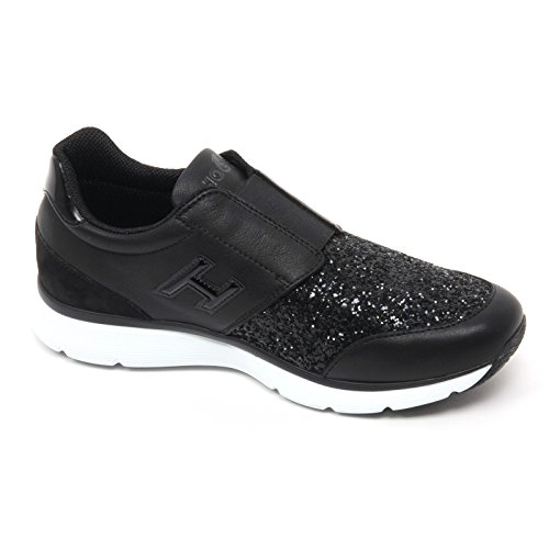 B7594 sneaker donna HOGAN H254 TRADITIONAL 20.15 scarpa nero glitter shoe woman Nero