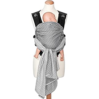 bellybutton by manduca DUO - Innovatives Tragesystem, Babytrage und Tragetuch zugleich, Click & Tie System, Bauchtrage, abnehmbarer Hüftgurt, für Neugeborene und Babys bis 15 kg (WildCrosses grey)