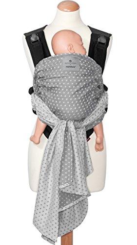 manduca Duo Portabebe > WildCrosses grey/gris < Innovador Sistema Click&Tie, Mochila y Fular Portabebés en Uno, Otimizado para Llevar Delante del Vientre, para Recién Nacidos & Bebés (3,5-15 kg)