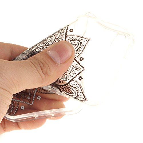 Apple iPhone iPhone 5s 5G SE hülle,MCHSHOP Ultra Slim Skin Gel TPU hülle weiche Silicone Silikon Schutzhülle Case für Apple iPhone iPhone 5s 5G SE - 1 Kostenlose Stylus (Lila Blume) Halbe schwarze Blumen