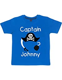 PERSONALISED CAPTAIN WITH HAT, HOOK & SWORD' Childrens Fun T-shirts