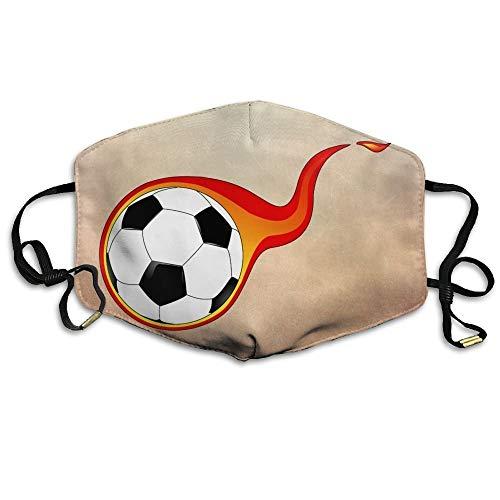 Masken, Masken für Erwachsene, Adult Flaming Soccer Fire Football Mouth Face Masks Women Amusing Motorcycle Anti Dust Face Mouth Mask-Reusable Mens (Womens Kostüm Football)