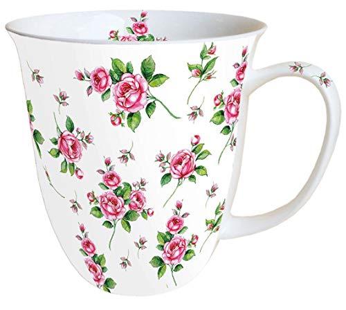 Ambiente Becher - Mug - Tasse - Tee / Kaffee Becher ca. 0,4L Evelyn White - Blumen - Rosen - Ideal Als Geschenk White Rose Tasse