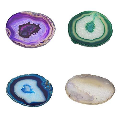 3 pezzi coffee bar display fetta di agata cristallo di quarzo lucidato pietra home decor ornamento tappetino/pad di calore - a