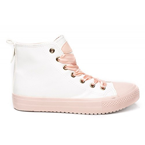 Ideal Shoes - Baskets montantes avec lacets satinés Jelissa Rose