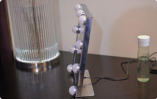 Schminkspiegel TOUCH Bildschirm mit 9Big-LED-Leuchtmittel Beleuchtete Spiegel Adjustbale Helligkeit - weiß - 9