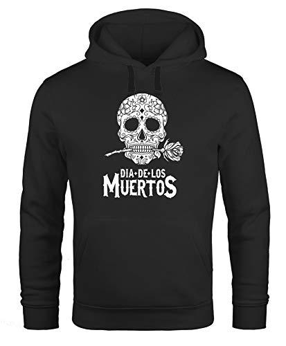 Neverless Hoodie Herren Sugar Skull Dia De Los Muertos Totenkopf mit Blumen Kapuzen-Pullover Männer schwarz M