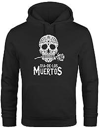 Neverless Hoodie Herren Sugar Skull Dia De Los Muertos Totenkopf mit Blumen  Kapuzen-Pullover Männer 4e5a06a91b