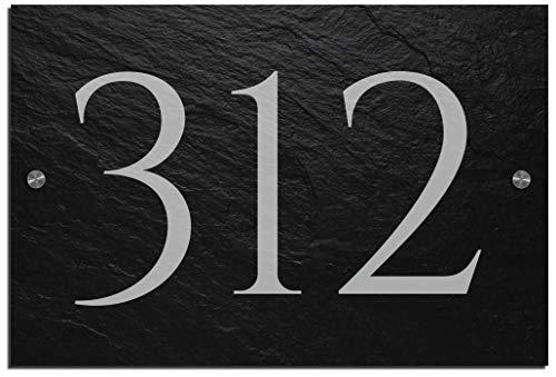 Schiefer Hausnummer & Straße Namen 30x20 cm Wunsch-Gravur Namensschild Schild