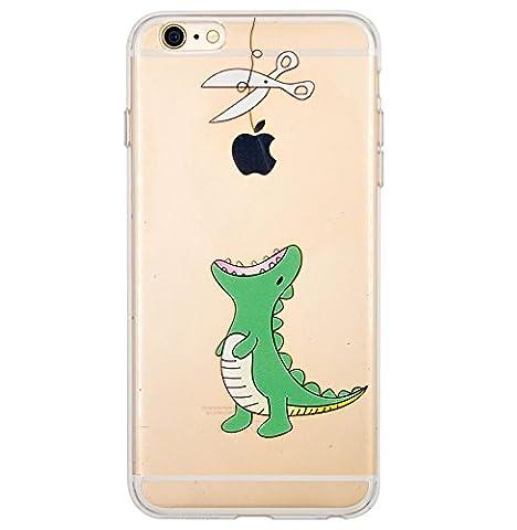 Coque iPhone 6 Plus, iPhone 6S Plus, OFFLY Transparente Souple Silicone TPU étui d' Protection, Cute et Motif Fantaisie pour Apple iPhone 6 Plus / 6S Plus - Petits Dinosaures
