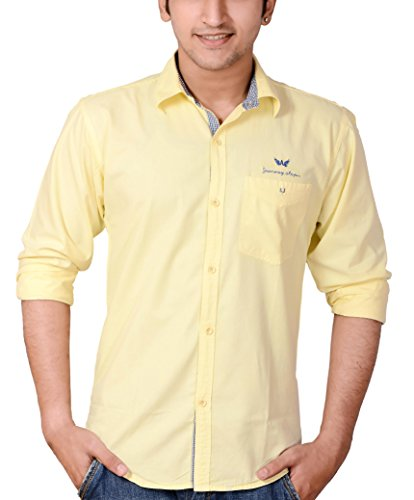 Anry Yellow Cotton Casual Shirts for Men (YEL4100_XXL)