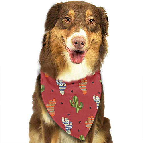 Wfispiy Unique Cactus Plant Pet Dog Bandanas Triangle Bibs Scarf Accessories for Medium to Large ()
