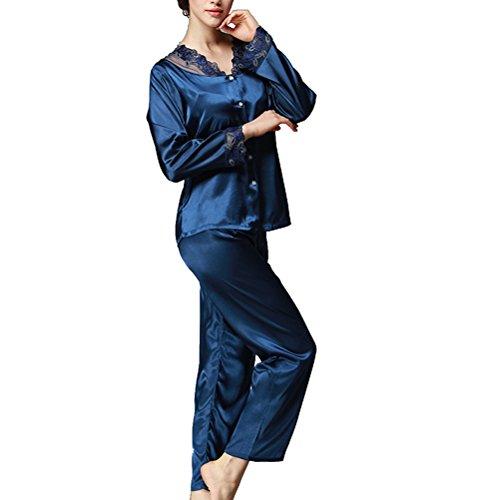 Damen Nachtwäsche Lang Schlafanzüge Satin Pyjama Set mit Spitze und V-Ausschnitt Schlafanzug Hausanzug aus Seide, Blau