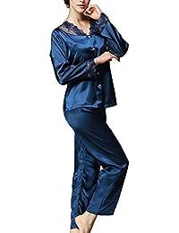 Femme Ensemble Pyjama satin Chemises de Nuit pyjama long Pyjama Bleu avec Manches Longues - 2 pièces