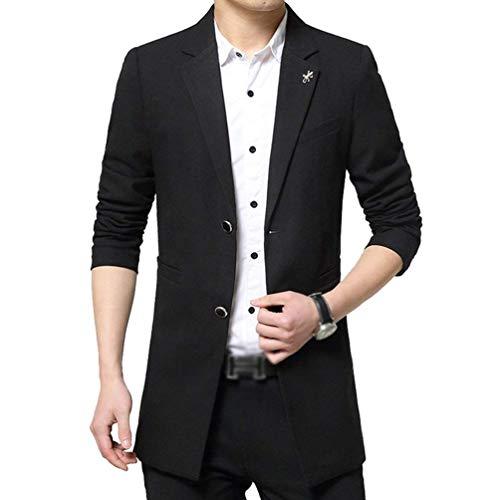 Herren Classic Slim Fit Sakko Blazer Freizeit Trenchcoat Business Kurzjacke Anzugsjacke Kleidung Warm Winterparka Parker (Color : Schwarz, Size : L)