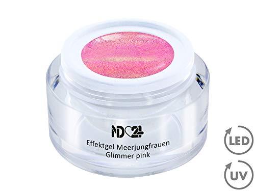 5ml - UV LED Effekt-Gel MEERJUNGFRAUEN GLIMMER pink - ROSA - Effekt Gel Naildesign FarbgGel NagelGel für Nageldesign Modellage - Nail Art Gel - Studio Qualität - MADE IN ()