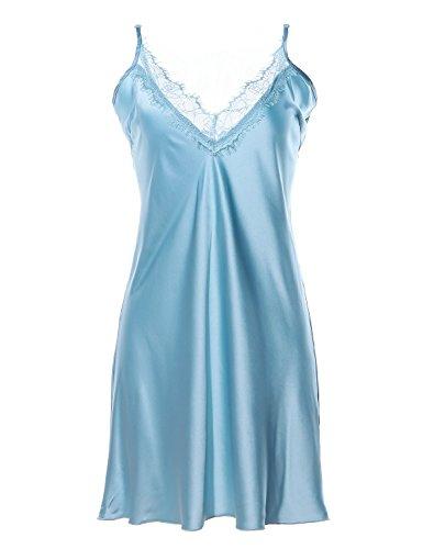 df5bcf13fd34 BellisMira Women Satin Slip Lingerie Sleepwear Pajamas V-Neck Nightgown  Chemises-Blue,S