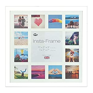 Inov8 Insta Driftwood 16x16 Inch Picture Frame for 13 Instagram/Square Photos, White Mount with Black Inset