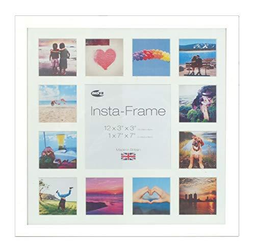 Inov16 Instagram-Bilderrahmen, Treibholz, für 13quadratische Fotos, mit weißem Passepartout und weißem Hintergrund, 40,6x 40,6cm, Weiß -