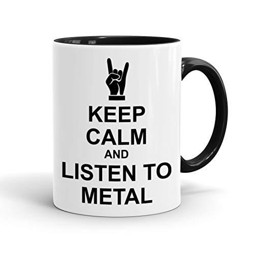 True Statements Lustige Tasse Keep calm and listen to metal - Kaffee-Tasse mit Spruch - Geschenk...