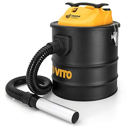 Aspirador de cenizas de Vito Tornado 1400W 18L Filtro HEPA Barbecues sartenes hasta 50°C apuntador...