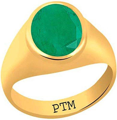 PTM Certified Natural 7.25 Ratti or 6.60 Carat Emerald gemstone (Panna) Astrological Gemstone Panchdhatu Gold Plated Ring