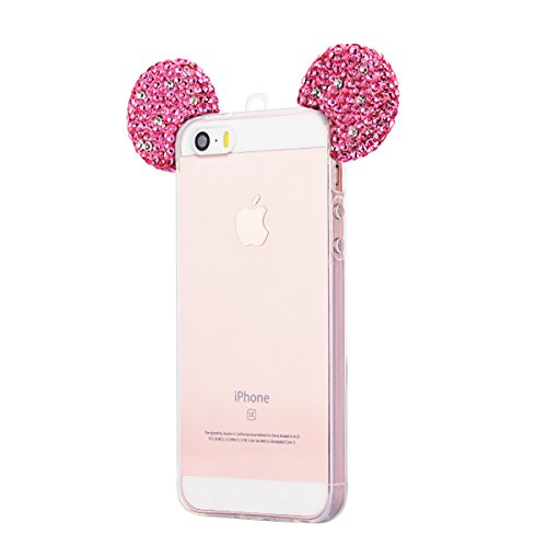 3D Cartoon Glitzer Strass Hülle für iPhone SE iPhone 5 / 5S HB-Int 3 in 1 Transparent Weich Silikon Luxus Bling Silber Rhinestone Schutzhülle Stilvoll Tiere Ohren Full Body Rahmen Schale Handyhülle Fl Rosa Ohr